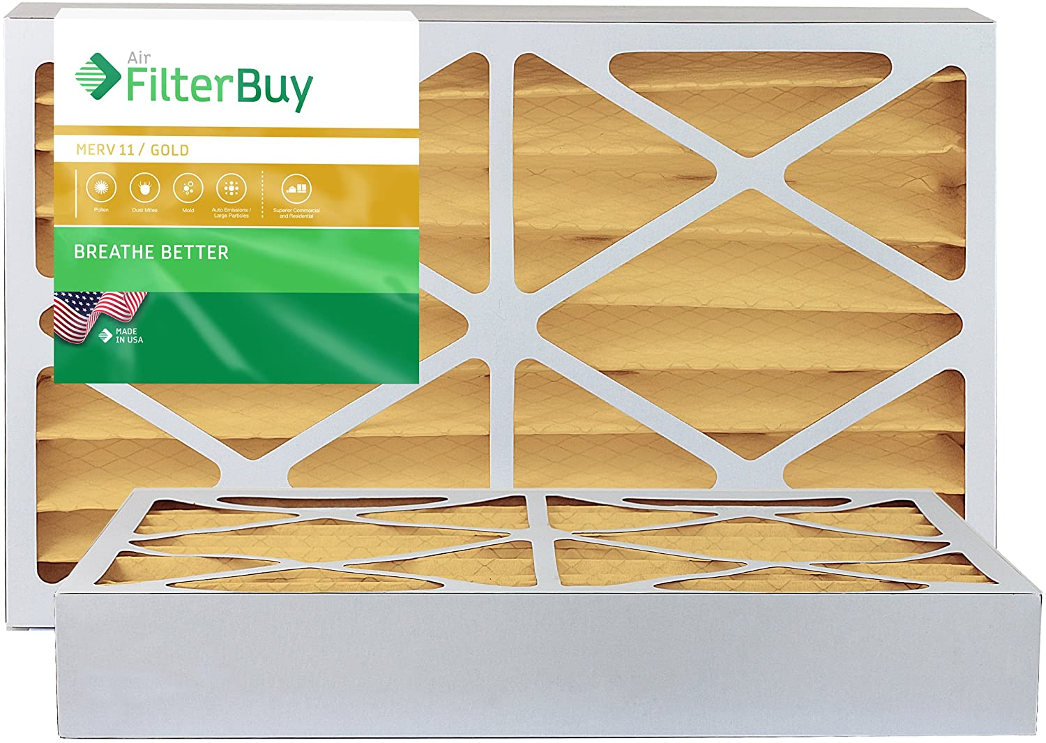 FilterBuy 18x20x4 MERV 11 Pleated AC Furnace Air Filter, (Pack of 2 Filters), 18x20x4 – Gold