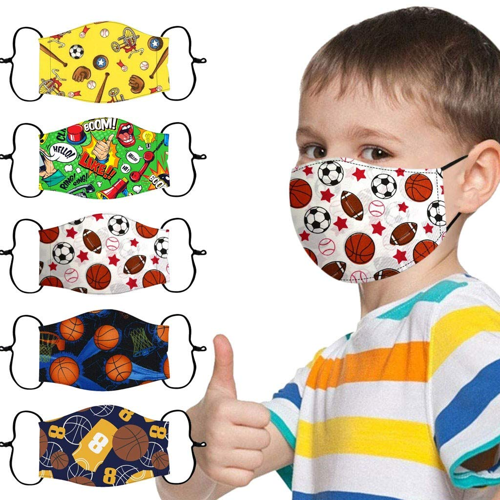5Pcs Childrens Face Bandanna Reusable Breathable Cotton Cloth Face Mouth Covering Adjustable for Kids Back to School