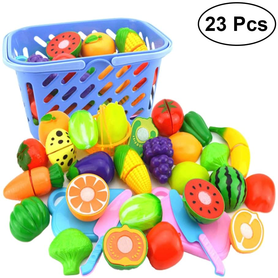 TOYMYTOY 23PCS Cutting Fruit and Vegetables Pretend Play Food Set Childrens Kids Kitchen Food Cutting Toy