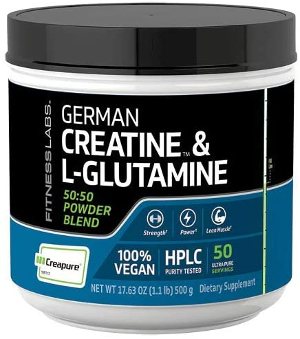 Fitness Labs Creatine and L-Glutamine, 500 Grams | Contains Only Pure Creapure Creatine Monohydrate & USA-Made Fermented Glutamine