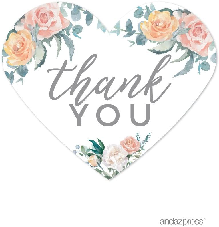 Andaz Press Peach Coral Floral Garden Party Wedding Collection, Heart Label Stickers, Thank You, 75-Pack
