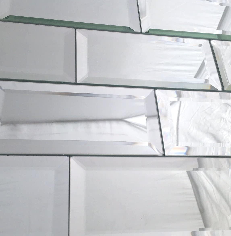 3x6 Wide Beveled Subway Mirror Tile Backsplashes Walls