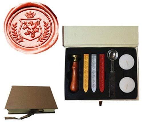 MDLG Vintage Dragon Wreath Crown Custom Picture Logo Wedding Invitation Wax Seal Sealing Stamp Sticks Spoon Gift Box Set Kit