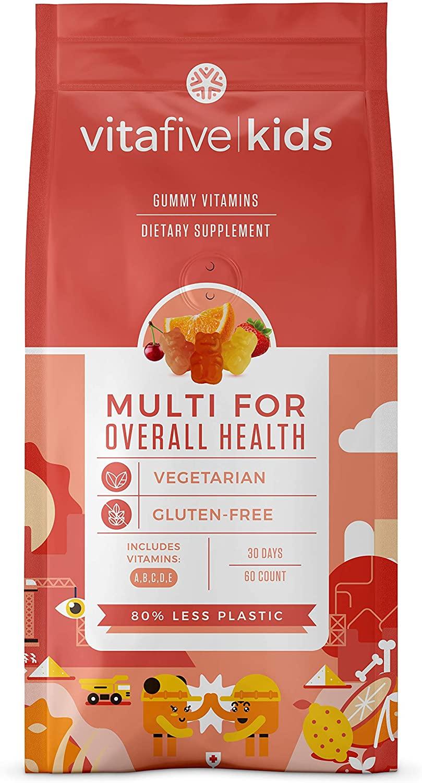 Vitafive Kid's Multivitamin for Overall Health Gummy Vitamins - Vitamin A, B, C, D, E, Natural Flavor, Vegetarian, Gluten Free, Allergen-Free, Kosher/Halal (60 Gummies)