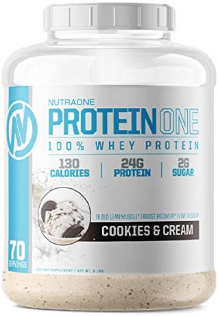 ProteinOne Whey Protein Powder by NutraOne – Non-GMO and Amino Acid Free Protein Powder (Cookies & Cream - 5 lbs.)