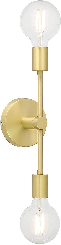XiNBEi Lighting Wall Light Double Wall Sconce with LED Bulb, Vanity Light Satin Brass Finish for Bathroom Hallway Bedroom XB-W1234-2-SB-G30