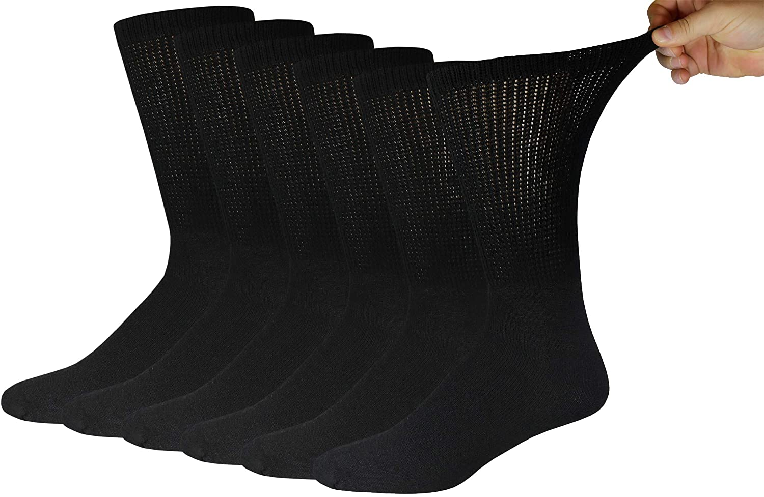 6 Pairs of Cotton Diabetic Neuropathy Crew Socks (10-13, Black)