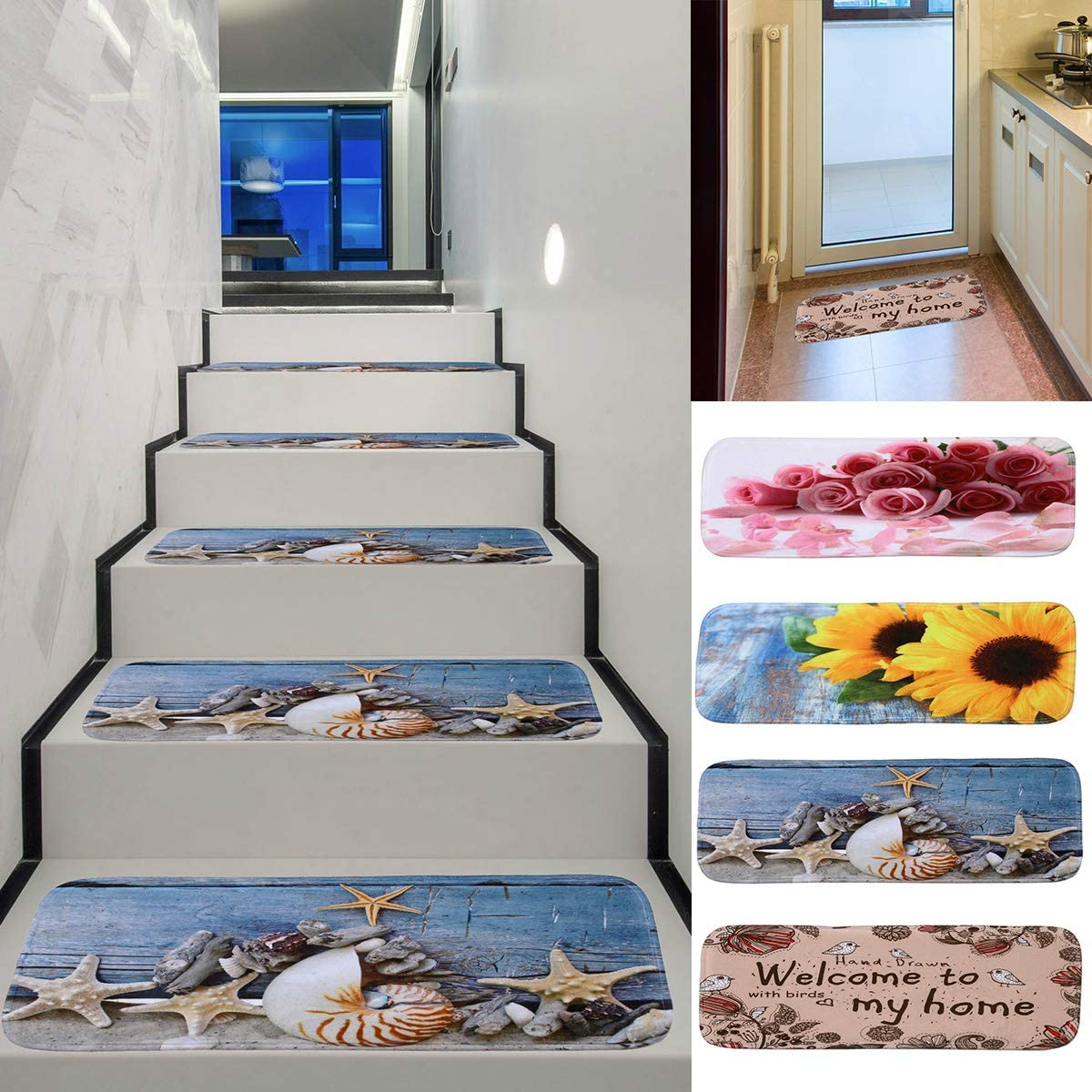 Xinapy 5pcs Stair Treads Carpet,Non-Slip Backing Skid-Resistant Stair Rugs Coral Velvet Modern Printed Stair Mat Easy to Clean Gripper Set