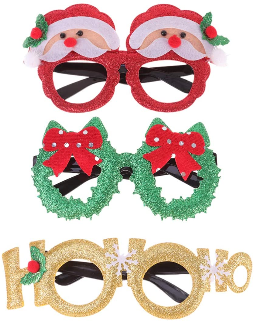 Toyvian 3pcs Christmas Party Glasses Funny Christmas Glasses Christmas Eyeglasses Frames Christmas Costume Photo Props for Kids Adults