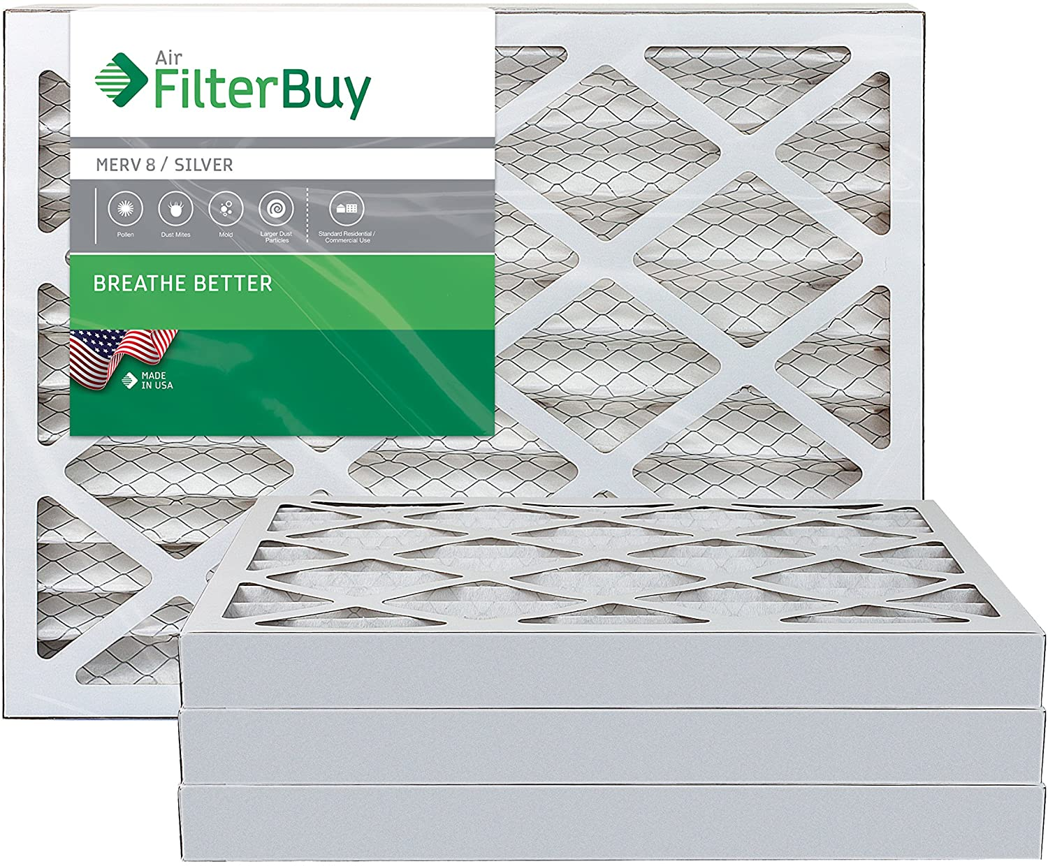 FilterBuy 12x25x2 MERV 8 Pleated AC Furnace Air Filter, (Pack of 4 Filters), 12x25x2 – Silver
