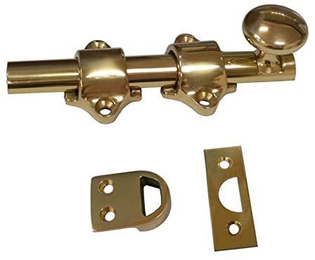QCAA Solid Brass Dutch Door Bolt, 4