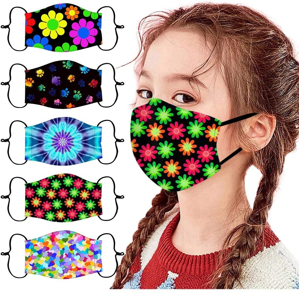 【USA In Stock Fast Delivery 】5Pcs Cute Face Mask For Kids Children Adjust Cotton Cartoon Pattern Breathable Comfortable Washable Reusable Face Masks