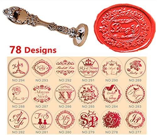MNYR Custom Monogram Letters Logo Picture 78 Designs Name Rose Love Wedding Invitations Gift Cards Sealing Wax Seal Stamp Luxury Metal Peacock Handle Set