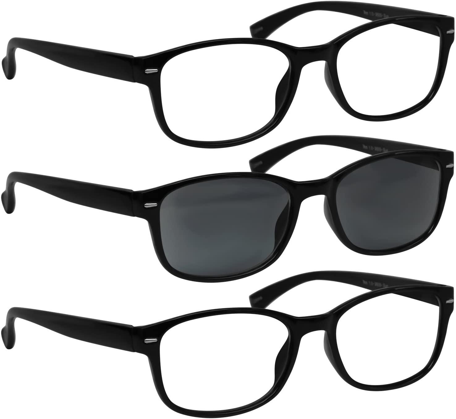 Reading Glasses - HP9505 - VP3-2 Black and 1 Sun Black -4.00