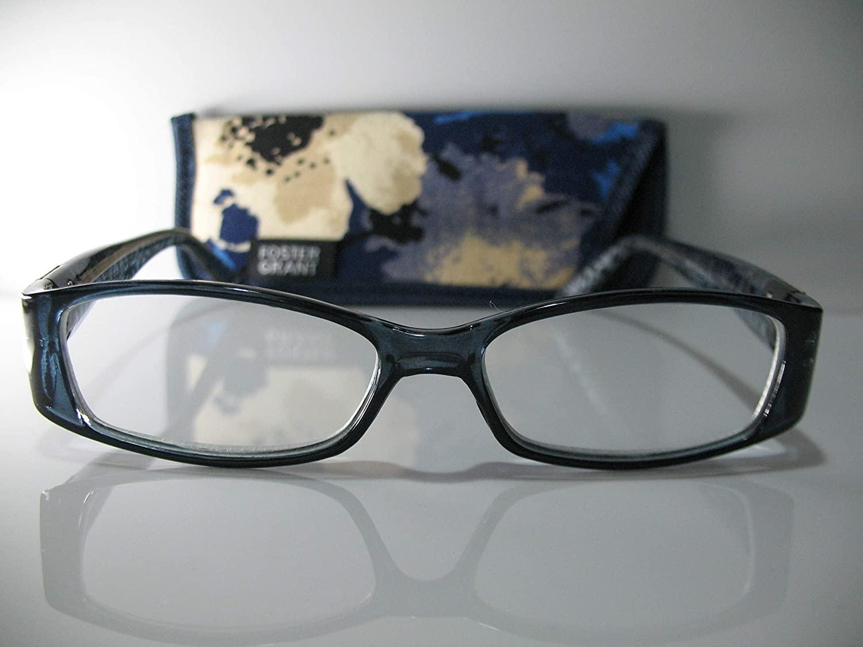 Foster Grant Posh Blue & Silver Flower Fashion Womens Reading Glasses w/Case +2.00