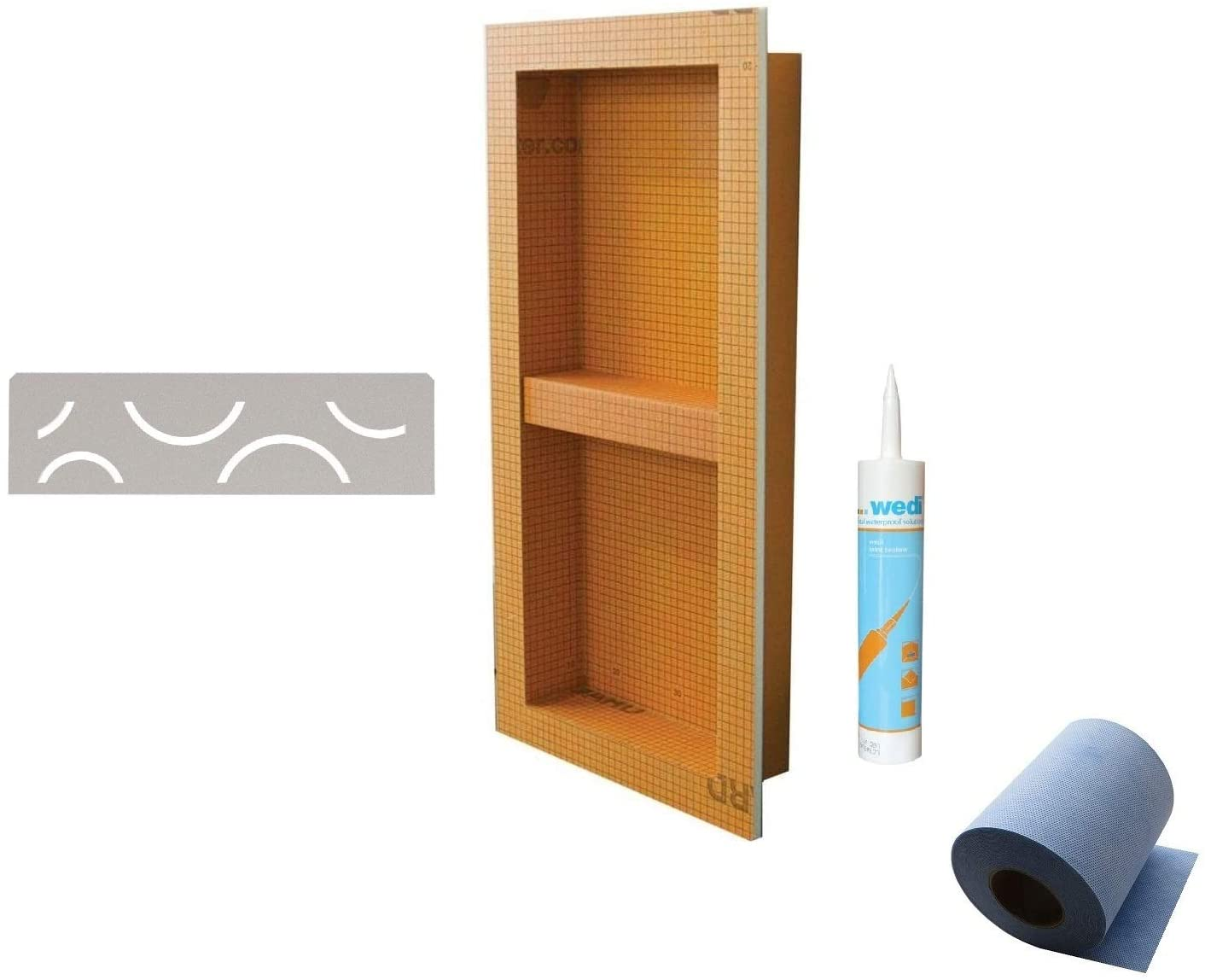 Schluter Systems KERDI-BOARD-SN KB12SN305711A1 Shower Niche 12 Inch x 28 Inch, Curve SNS1D6TSBG Greige Shelf with Sealant and Waterproofing 5M Band