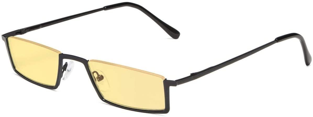 Eyekepper Blue Light Blocking Glasses Half-Rim Computer Readers Eyeglasses-Screen Eyewear-Amber Tinted Lens Reading Glasses (Black, 0.00)