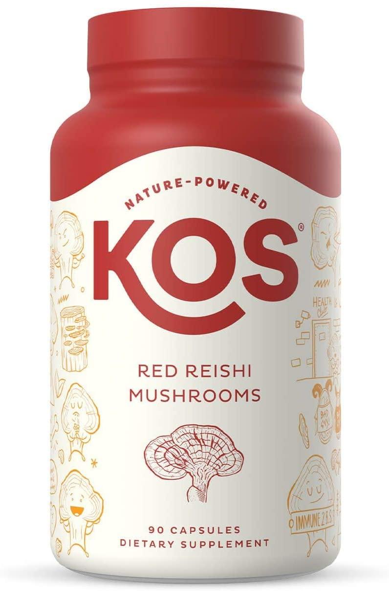 KOS Organic Red Reishi Mushroom Capsules - Pure Ganoderma Lucidum (10:1 Reishi Extract) - Immune System Support, Mood Booster - Potent Reishi Mushroom Supplement - 1500 mg, 90 Capsules