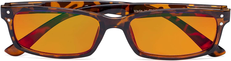CessBlu Blue Light Filter Glasses with Orange Tinted Lens Relieve Eyestrain Computer Reading Glasses for Men Women