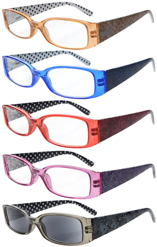 5-Pack Spring Hinges Polka Dots Patterned Temples Reading Glasses Sun Readers +2.5