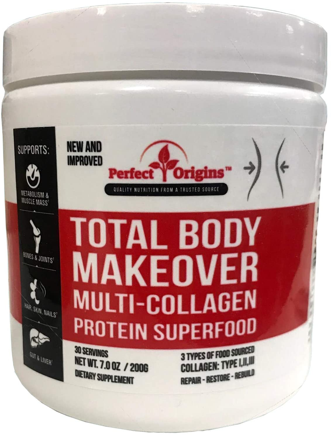 Perfect Origins TBM Multi Collagen Protein Powder, Natural Anti Aging Keto Supplement with Hyaluronic Acid & Vitamins
