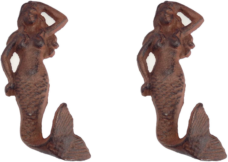 Rustic Heavy Duty Cast Iron Mermaid Wall Hooks, Set of 2, 5 3/4 Inch