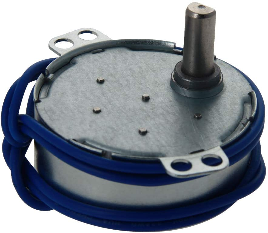 Fielect 1Pcs Synchronous Motor AC 110V 5-6RPM Turntable Motor CW/CCW Direction 4W TYC-50 Single Flat Shaft