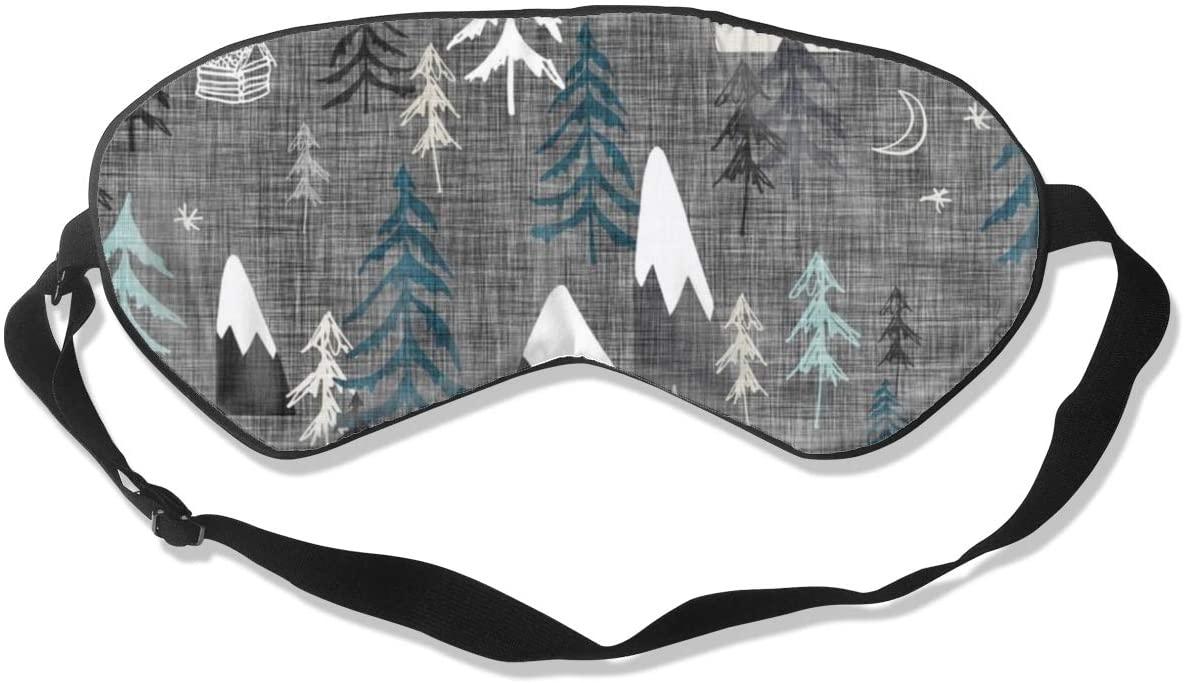 NiYoung Women Men Fashion Light Blocking Sleep Eye Mask, Soft and Comfortable Blindfold Happy Camper Mountain Trees Eye Cover for Travel/Meditation/Shift Work