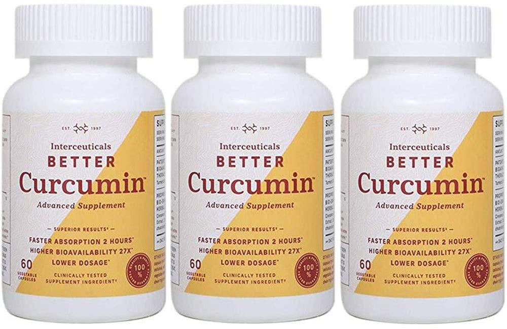 Interceuticals Better Curcumin - Theracurmin Curcumin 90 mg - 27X Bioavailable Turmeric* - High Absorption, Low Dose (3 Bottles)