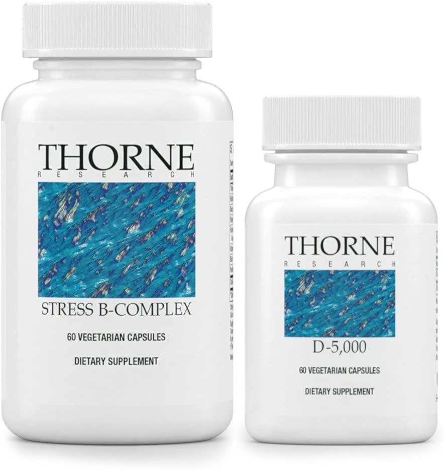 Thorne Research Stress B-Complex and Vitamin D 5000 Bundle - Vitamin B Complex and Vitamin D3 Supplement (5,000 IU) - 60 Veggie Caps Each Bottle (1 Bottle of Each)