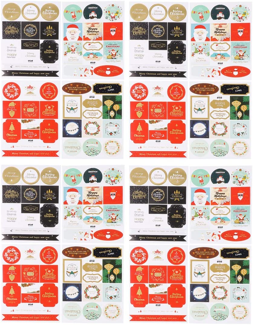 Milisten Christmas Gift Sticker - 16 Sheet Xmas Santa Claus Black Gold Stamping Self-Adhesive Paper Tags Sealing Stickers Labels for Gift Candy Cake Bag Wrapping