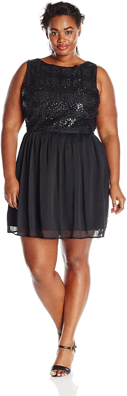 BB Dakota Women's Plus-Size Vendela Chiffon Dress with Sequin Front Bodice