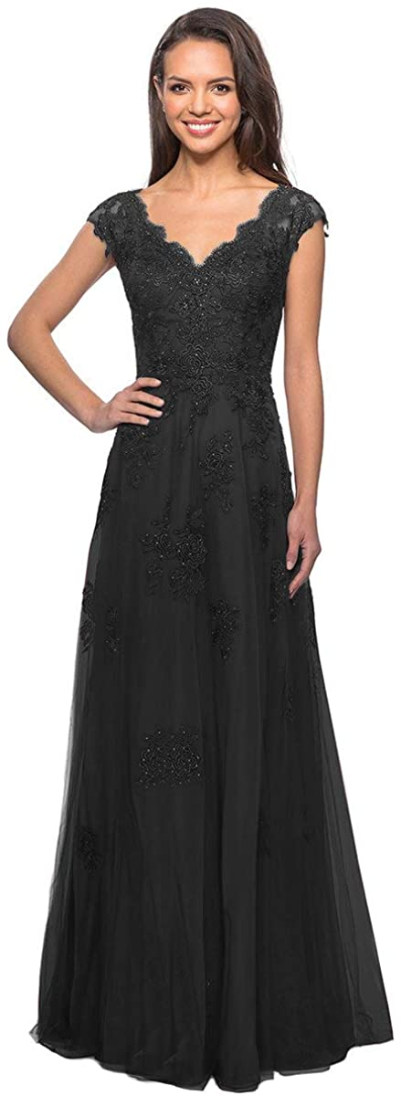 Clothfun Cap Sleeve Mother of The Bride Dresses Evening Gowns for Women Long Fomal Dresses with Pockets