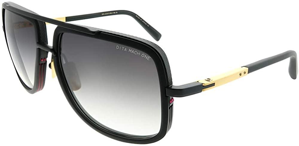 Dita DRX-2030 G-BLK-18K Mach-One Matte Black Plastic Aviator Sunglasses Dark Grey Gradient AR Lens