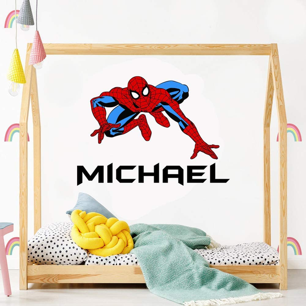 Spider Man Decal Custom Names Personalized Name Spider Man Super Hero Wall Decals for Kids Bedroom Boys Wall Decor Cartoon Characters Tv Shows Comic Peter Parker