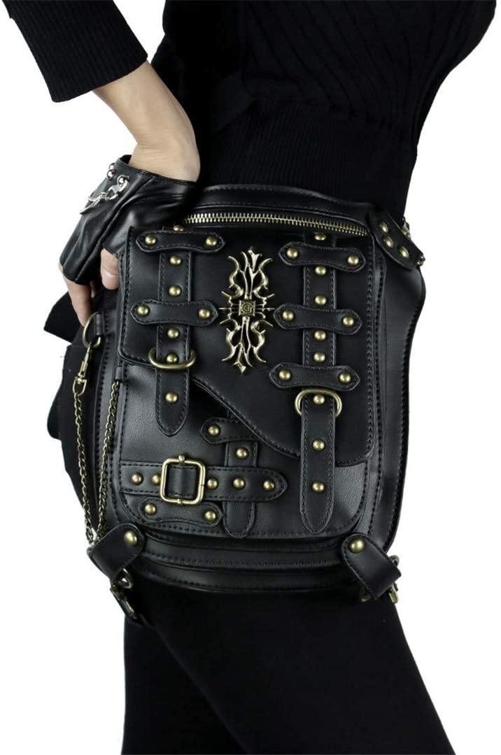 DiaoPiou Women Men Rivet Waist Bags Stripes Punk Waist Packs Vintage Multi-Functional Crossbody Bags Chain Fanny Pack