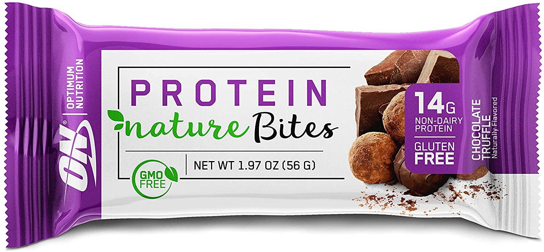 New! Optimum Nutrition Nature Bites, Decadent Protein Snack, Vegan Snack, Gluten Free, GMO Free, Flavor: Chocolate Truffle, 9 Count