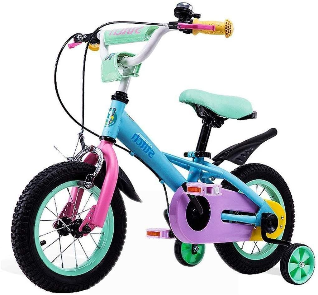 HWZQHJY 12 14 16 18 Inch Kids Bike with Training Wheels for 2-7 Years Old Girls 29 - 45 Tall, Toddler Bike with 85% Assembled (Size : 14)