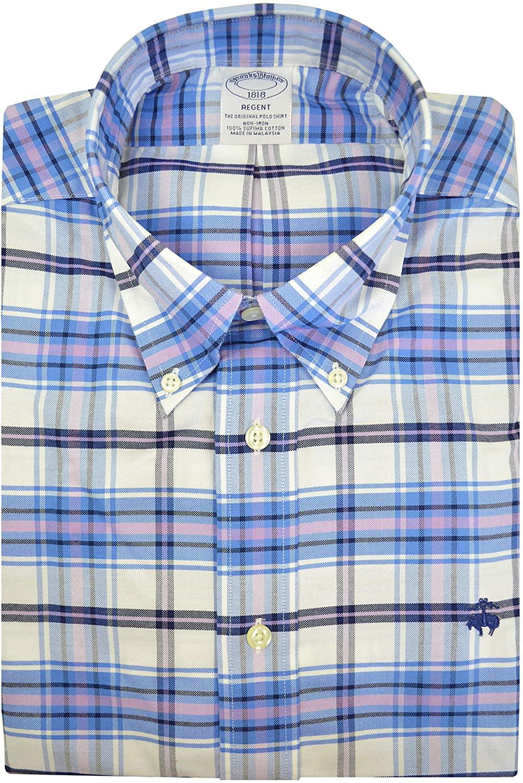 Brooks Brothers Mens Regent Fit 98577 Supima Cotton The Original Polo Button Down Shirt Blue Multi Plaid