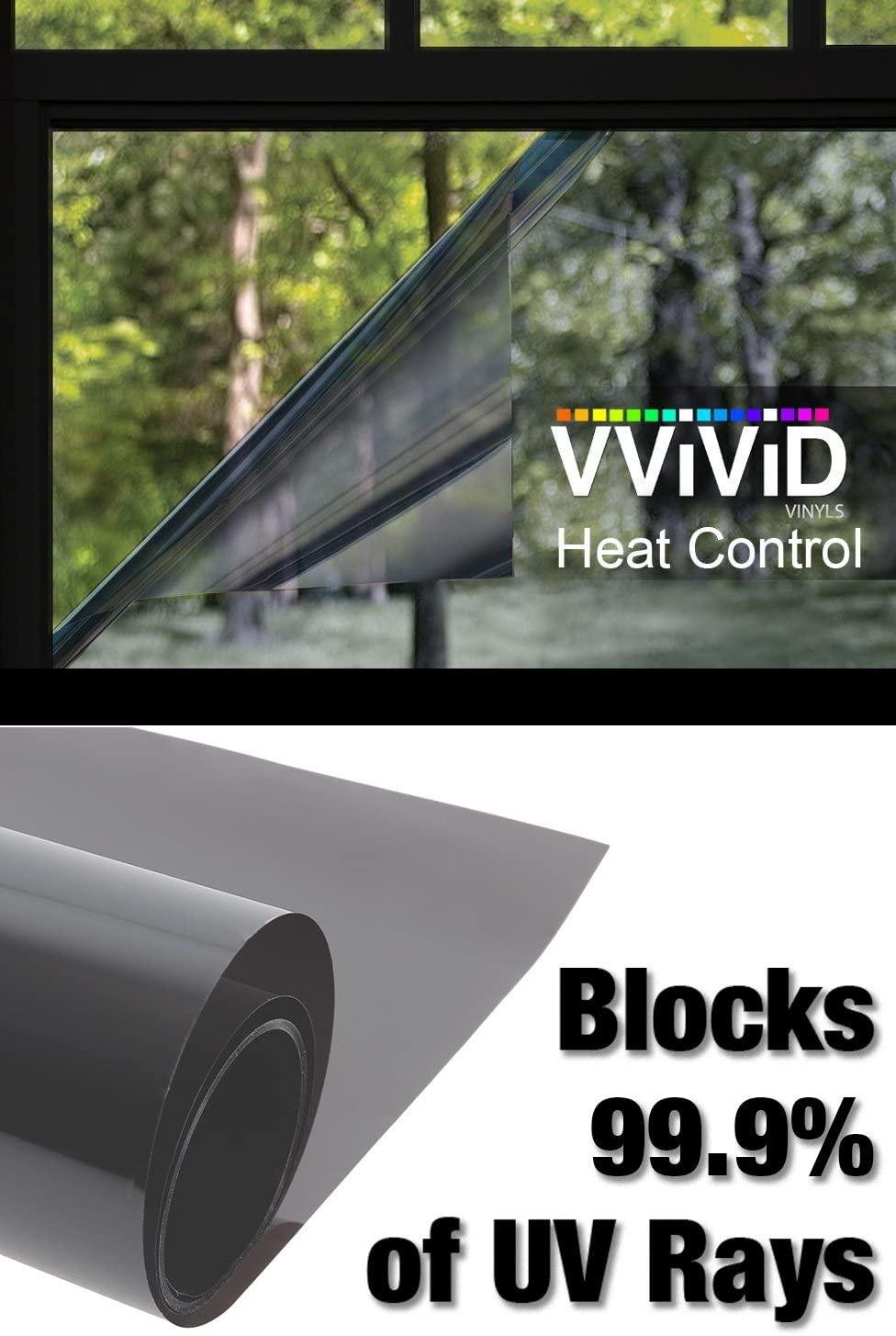 VViViD Heat Control 99% Anti UV Residential Vinyl Wrap Window Light Tint Roll (17.75 Inch x 60 Inch)