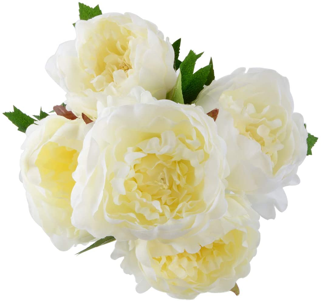 HoveBeaty Artificial Peony Silk Flowers Bouquet Home Wedding Decoration (White)