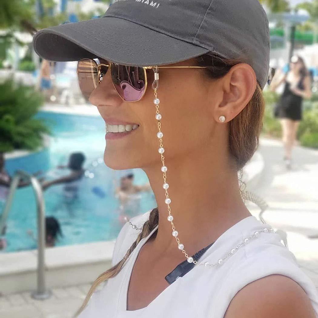 Aetorgc Beaded Eyeglasses Strap Holder Sunglasses Necklace Pearl Reading Glasses for Women and Men