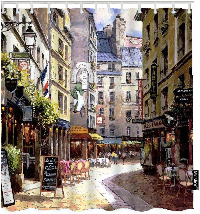 Moslion Paris Bathroom Shower Curtain Vintage Painting France Street Cafe European Building French Shops Bathroom Shower Curtain Set Home Decorative Waterproof Polyester Fabric with Hooks 72x72 Inch
