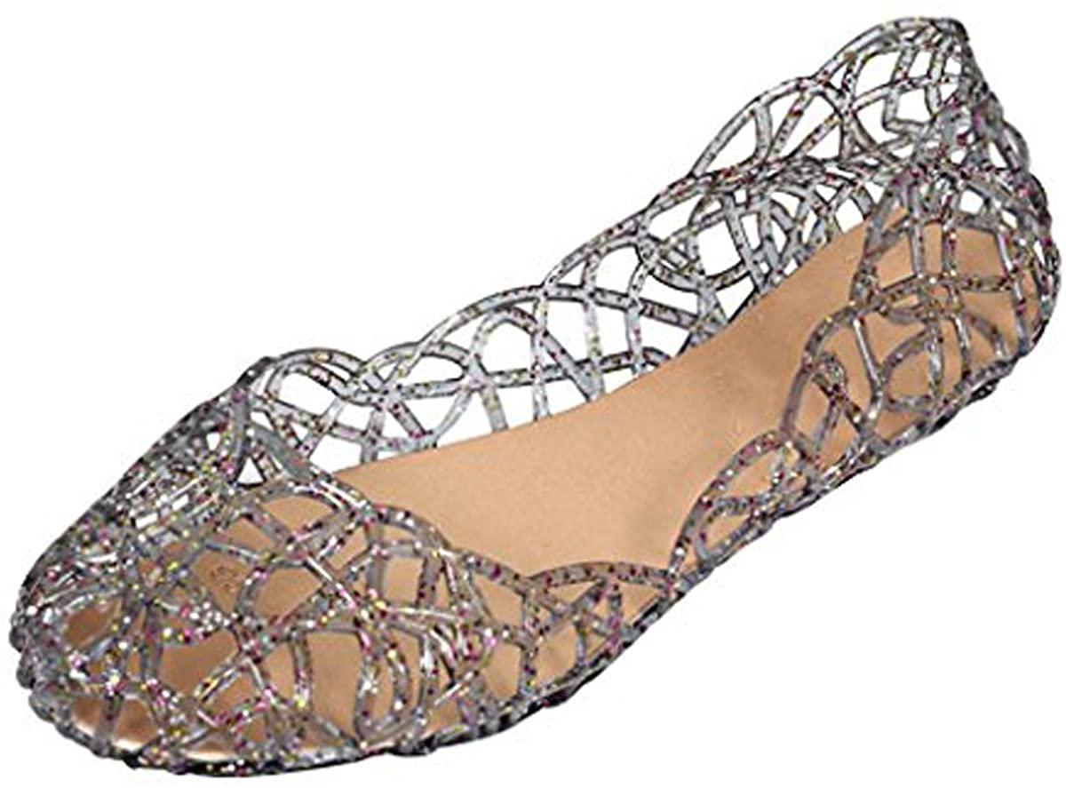 Slduv7 Women's Summer Jelly Flats Sandals Slip On Glitter Hollow Out Sandals Ballet Shoes
