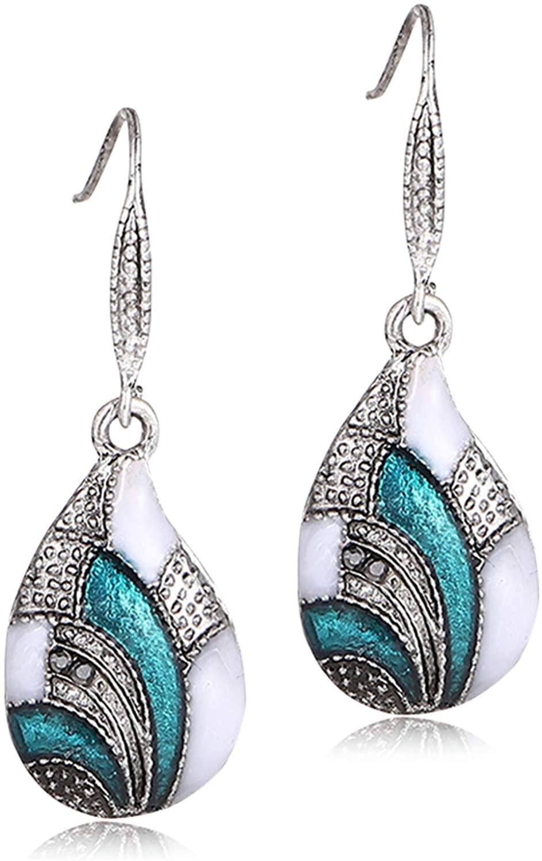 DAMLENG Bohemian Handmade Vintage Enamel Teardrop Dangle Earring Unique National Style WaterDrop Dangle Drop Earrings for Women Girls Statement Jewelry Gifts
