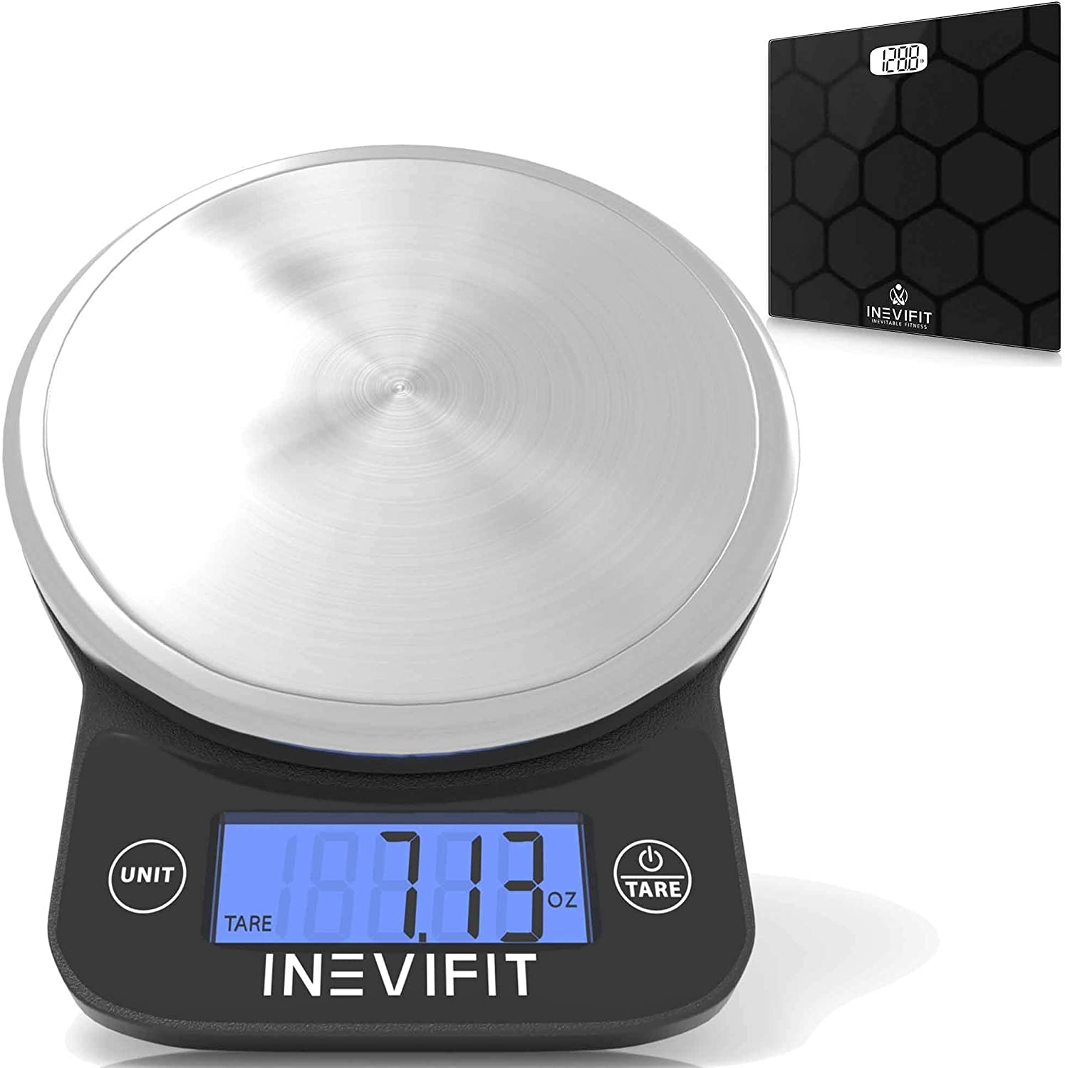 INEVIFIT Bathroom Scale & Digital Kitchen Scale Fitness Bundle, Complete Body Composition and Nutrition Tracking Solution with Batteries Included