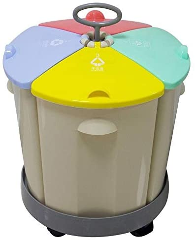 GUAPIHUO YLIJUN-LAJTO Waste Bins, Household Classification Round Four Plastic Trash Barrel Kitchen Storage Room Mini-Commercial Wet and Dry Separation of Garbage bin (Color : White)