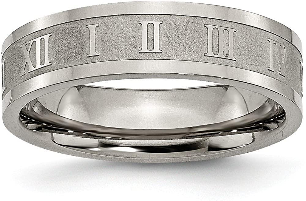 Beautiful Titanium Roman Numerals 6mm Satin & Polished Flat Band