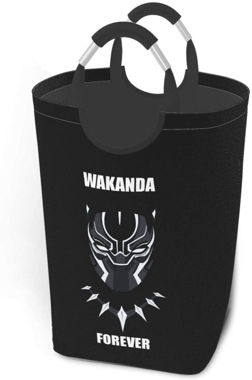 Qwtykeertyi 22.7'' Wakanda Forever Dirty Clothes Laundry Basket,Waterproof Foldable Laundry Hamper