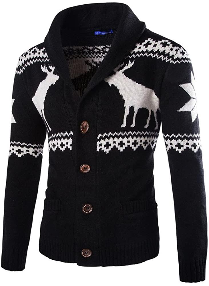 WUAI 2018, Mens Christmas Ugly Sweater Cardigan Winter Warm Knitwear Coat Jacket